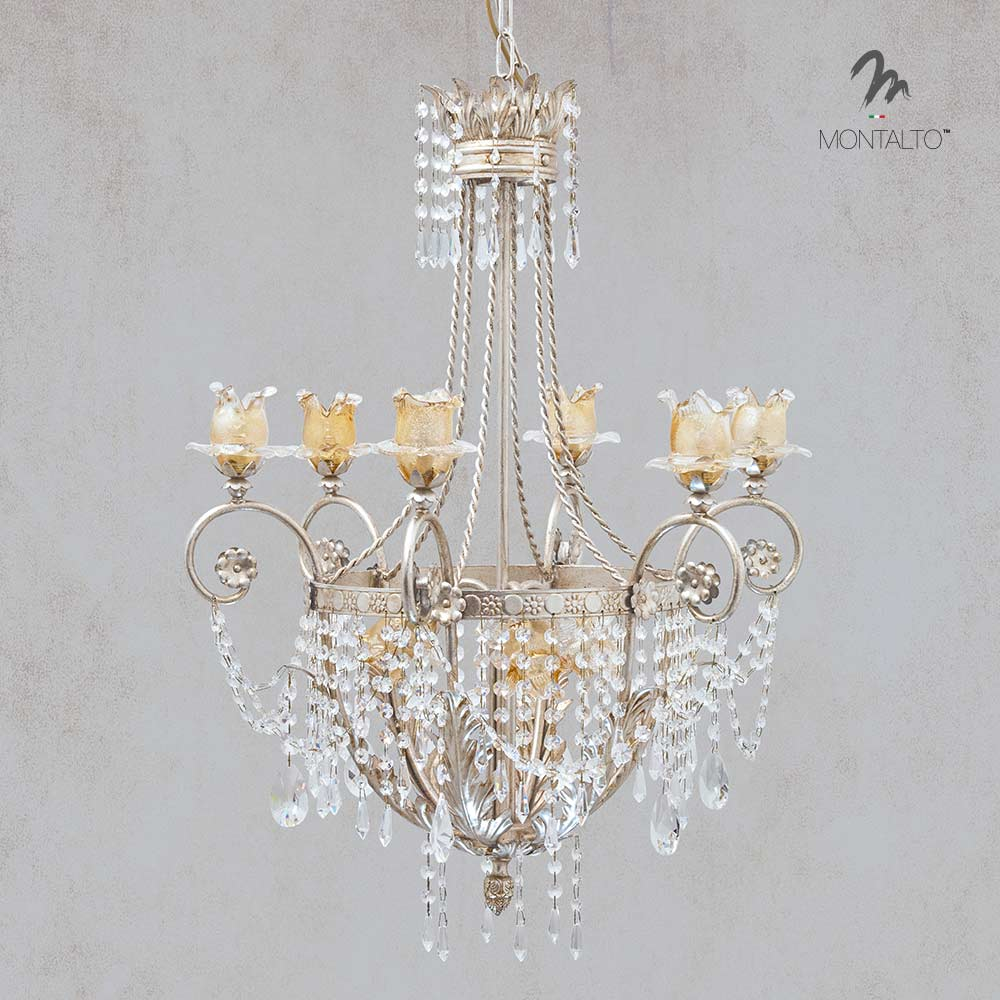 murano glass chandelier with crystal aidone